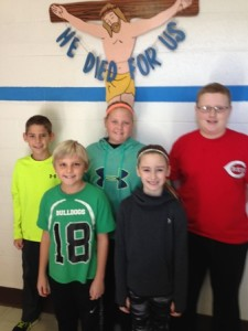 Pictured are the 2015 Immaculate Conception Hoop shoot winners.  These students had the best foul shot percentage for their age group at I.C. School and were participants in the county Hoop Shoot Contest in December.  Winners were:  (back row)  Jacob Knapke (10-11 age group), Payton Bertke (10-11 age group), Alex Stachler (12-13 age group), (front row)  Jack McGohan (8-9 age group) and Aubrey Simpson (8-9 age group).  Congratulations to these winners!
